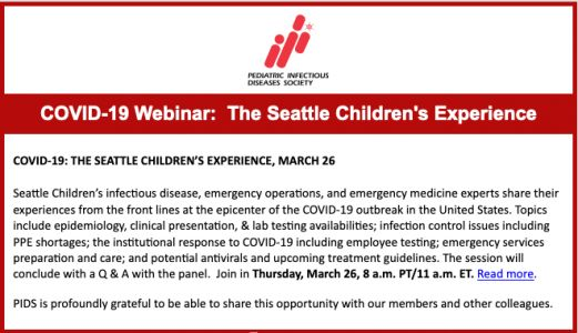 COVID-19 Webinar: The Seattle Children's Experience - March 26, 2020
