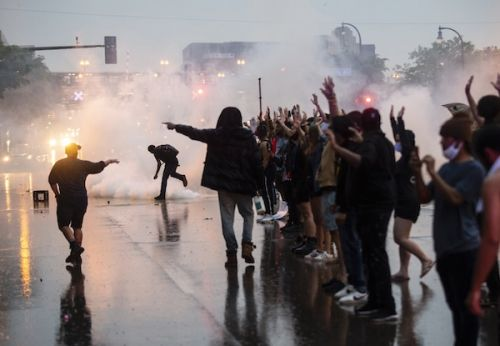 People Protesting After George Floyd's Death Get Hit With Tear Gas And Rubber Bullets